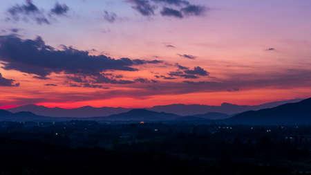 trave: Pink sky, Beautiful sunset Stock Photo