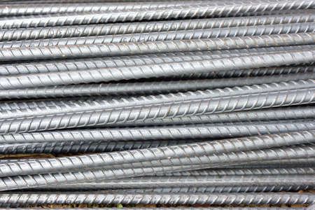 heavy joist: Steel rods or bars used to construction job Stock Photo