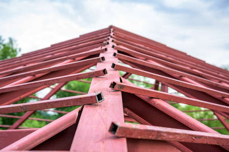 roof beam: steel structure for roof of a new house