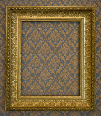 background picture: golden frame over grunge wallpaper Stock Photo