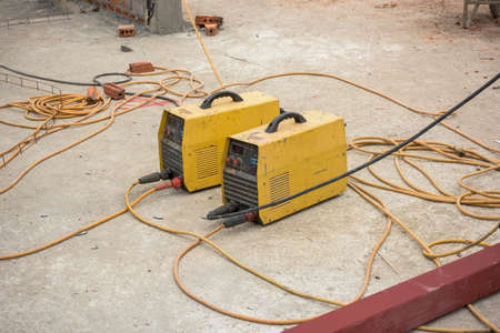 blowpipe: yellow welding machine Stock Photo