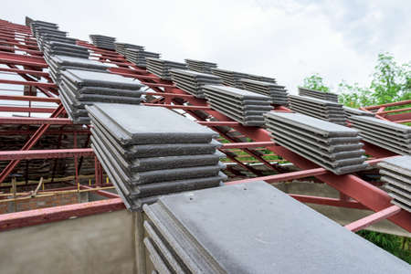 roof structure: steel structure and tile for roof of a new house