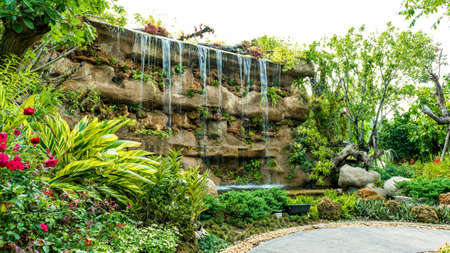 botanic garden: Artificial waterfall in botanic garden