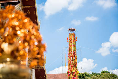hariphunchai: Salak Yom tradition,Traditionally done since ancient times to the present. Merit for the deceased ancestors. at Hariphunchai temple in Lamphun,Thailand Stock Photo