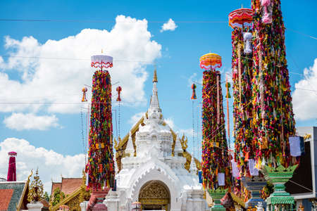 tradition: Salak Yom tradition,Traditionally done since ancient times to the present. Merit for the deceased ancestors. at Hariphunchai temple in Lamphun,Thailand Stock Photo