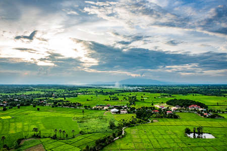High angle view of fields and villages.