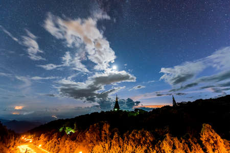 chiangmai: Milky Way and cloud at Pagoda of Doi Inthanon National Park, Chiangmai Thailand