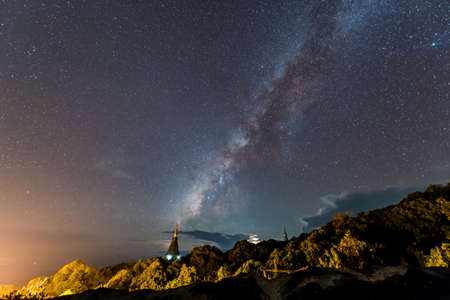 chiangmai: Milky Way at Pagoda of Doi Inthanon National Park, Chiangmai Thailand