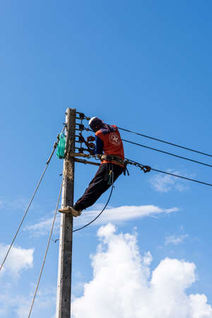 outage power: electric pole for install new cable on light poles