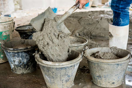 gyan: Wet Cement. Wet cement mixed for building Stock Photo