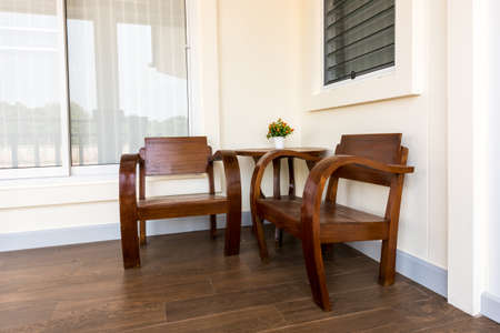 corner of house: chairs and table Wooden in the corner house Stock Photo