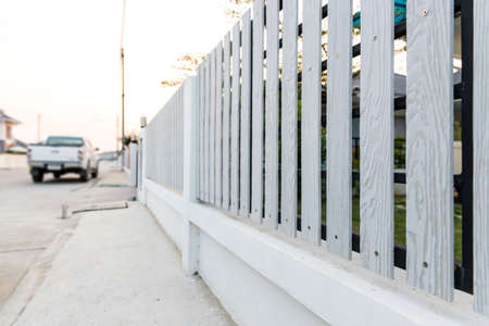 picket fence: White picket fence Stock Photo