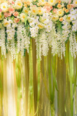 wedding backdrop: floral backdrop at the wedding