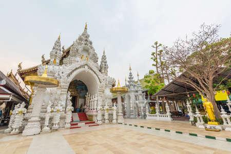 public domain: Wat Sanpa Yang Luang, beautiful temple in Lamphun, Thailand.They are public domain or treasure of Buddhism. Stock Photo