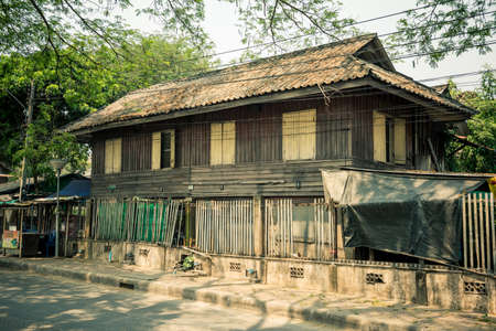 wood railroads: LAMPANG, Thailand - March 20, 2016 :The old village near the Train Station in Lampang province, Thailand. (vintage style) Editorial