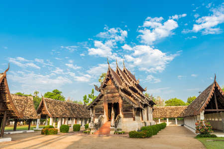 public domain: Wat Ton Kain, Old wooden temple in Chiang Mai Thailand, They are public domain or treasure of Buddhism.