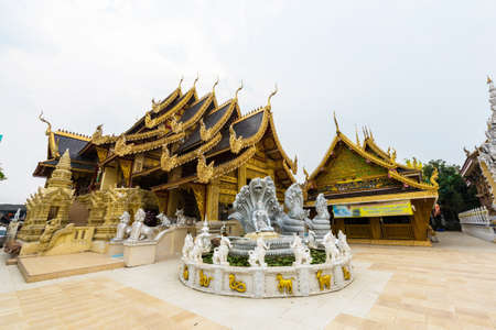 public domain: Wat Sanpa Yang Luang, beautiful temple in Lamphun, Thailand.They are public domain or treasure of Buddhism. Stock Photo