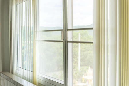Mosqito window screen with white curtains texture