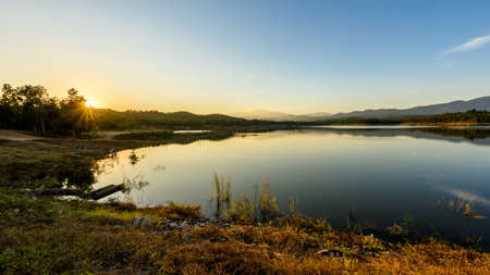 sky brunch: Beautiful reservoir in the evening Stock Photo