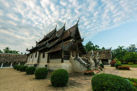 public domain: Wat Ton Kain, Old wooden temple in Chiang Mai Thailand, They are public domain or treasure of Buddhism. (vintage style)