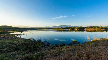 Beautiful reservoir in the evening Stock Photo