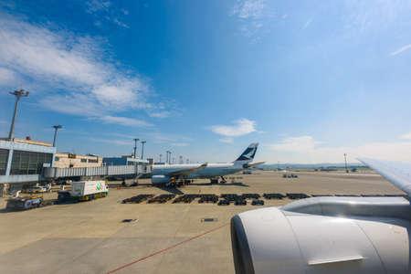 TAIPEI, TAIWAN - APRIL 3: An aircraft parking at Taoyuan International Airport on April 3, 2017 in Taiwan. Редакционное