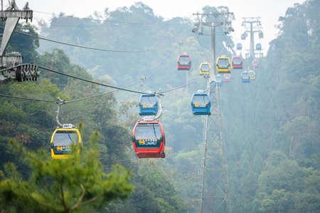 Sun Moon Lake Cable Car ,Taiwan Nantou -March 28, 2017:Sun Moon Lake Cable Car Transporting tourists.