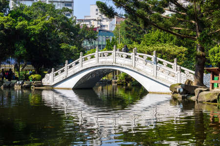 dream land: Bridge and a pond on the grounds of the Chiang Kai Shek Memorial Hall in Taipei, Taiwan