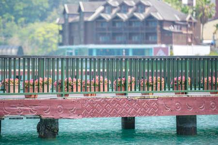 cornerstone: Bridge with pattern carve sun and moon at Sun Moon Lake Stock Photo