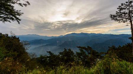 Sunrise at Alishan national scenic area, Taiwan. Stock Photo
