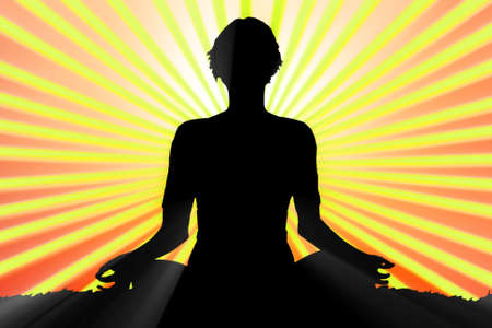 meditating woman silhouette photo