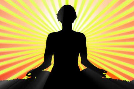 meditating woman silhouette Stock Photo - 8998448