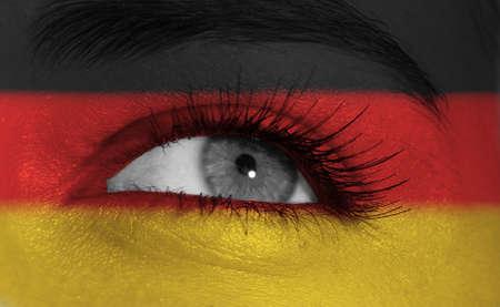 europe closeup: eye with flag
