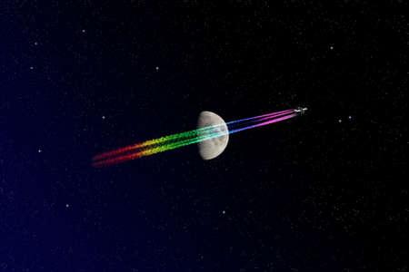 Flugzeug und Mond Lizenzfreie Bilder