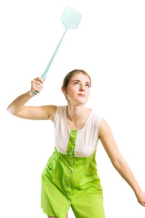 Frau mit Fliegenklatsche Lizenzfreie Bilder