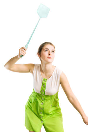 catching: woman with fly swatter