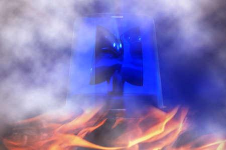 blue rotating beacon Stock Photo