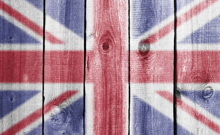 wooden wall with flag photo
