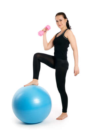 fitness exercises with blue ball photo