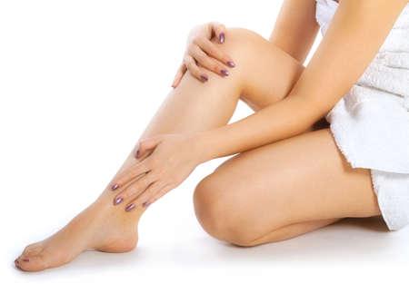 massage jambe: jambes de la femme jolies Banque d'images