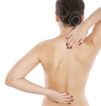 arthritis pain: back of beautiful woman