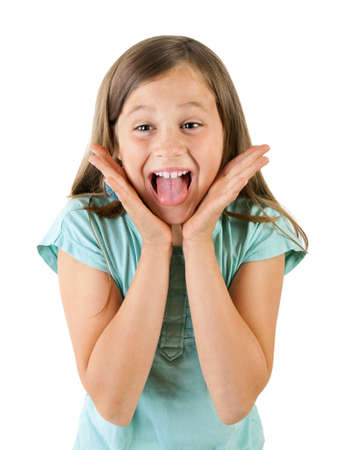 excitement: girl screaming Stock Photo