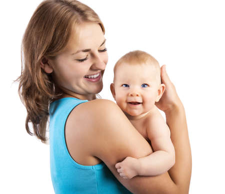 mama e hija: madre feliz con el beb� Foto de archivo