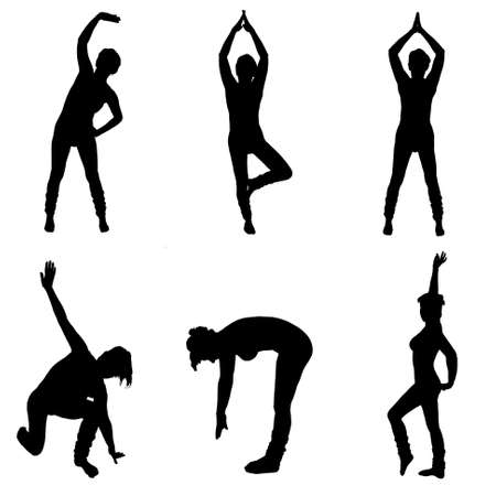 aerobic training: aerobic silhouettes Stock Photo
