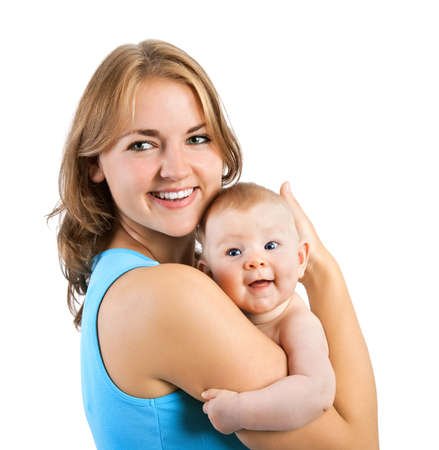 happy mother with baby Stock Photo - 16469834