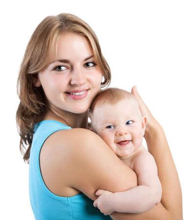 happy mother with baby Stock Photo - 16940410