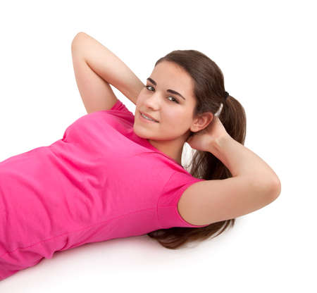 sit ups: young woman doing sit ups