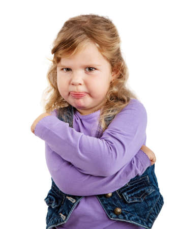 sulky: sulky angry young girl on white background
