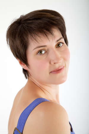 short haircut: portrait of a beautiful young woman with short haircut Stock Photo