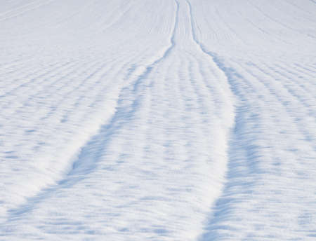 narrow depth of field: Surface of a field covered with snow. Selected focus, narrow depth of field